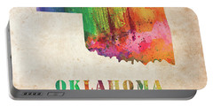 Oklahoma Colorful Watercolor Map Portable Battery Charger