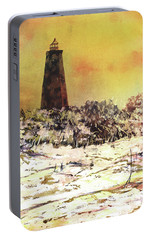 Portable Battery Charger featuring the painting Old Baldy Lighthouse- North Carolina by Ryan Fox
