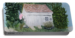 Portable Battery Charger featuring the painting Old Barn In Eastham Ma by Donna Walsh