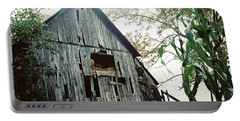 Old Barn In The Morning Mist Portable Battery Charger
