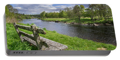 Old Bench Along Spey River, Scotland Portable Battery Charger