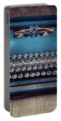 Portable Battery Charger featuring the photograph Old Blue Typewriter by Edward Fielding