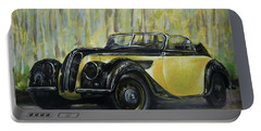 Old Bmw Yellow Car Painted On Leatheder, Vintage 1938 Portable Battery Charger by Vali Irina Ciobanu
