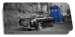 Old British Police Car And Tardis Portable Battery Charger by Yhun Suarez