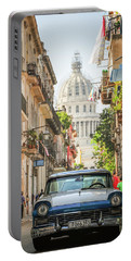 Old Car And El Capitolio Portable Battery Charger