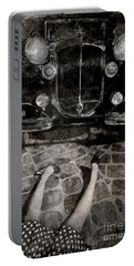 Portable Battery Charger featuring the photograph Old Car And The Girl. by Andrey  Godyaykin
