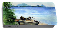 Portable Battery Charger featuring the painting Old Carved Boat At Lake Malawi by Dora Hathazi Mendes