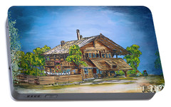 Portable Battery Charger featuring the painting Old Cottage by Andrzej Szczerski