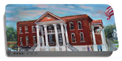 Portable Battery Charger featuring the painting Old Courthouse In Ellijay Ga - Gilmer County Courthouse by Jan Dappen