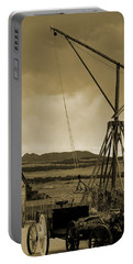 Old Crane And Shed Utah Countryside In Sepia Portable Battery Charger