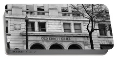 Old Ebbitt Grill Facade Black And White Portable Battery Charger