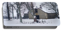 Old Edwardian Barn In The Winter Snow Portable Battery Charger