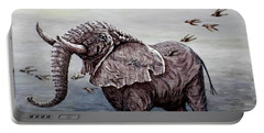 Portable Battery Charger featuring the painting Old Elephant by Judy Kirouac