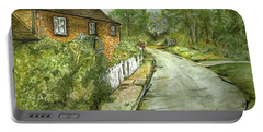Portable Battery Charger featuring the painting Old English Cottage by Teresa White