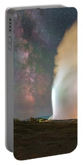 Old Faithful Erupts At Night Portable Battery Charger