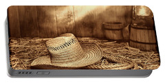 Old Farmer Hat And Rope Portable Battery Charger