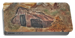 Old Farmhouse With Hay Stack In A Snow Capped Mountain Range With Tractor Tracks Gouged In The Soft  Portable Battery Charger