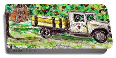 Portable Battery Charger featuring the painting Old Farming Truck by Monique Faella