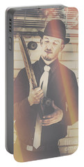 Old Fashion Gent With Skateboard Deck Portable Battery Charger