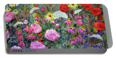 Portable Battery Charger featuring the painting Old Fashioned Garden by Claire Bull