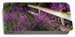 Old Fence And Purple Flowers Portable Battery Charger