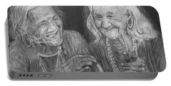 Portable Battery Charger featuring the drawing Old Friends, Smokin' And Jokin' by Quwatha Valentine