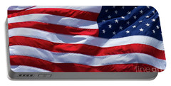 Portable Battery Charger featuring the photograph Stitches Old Glory American Flag Art by Reid Callaway
