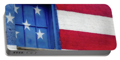 Old Glory, American Flag Mural, Street Art Portable Battery Charger