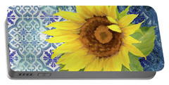 Portable Battery Charger featuring the painting Old Havana Sunflower - Cobalt Blue Tile Painted Over Wood by Audrey Jeanne Roberts