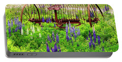 Old Hay Rake And Lupines Portable Battery Charger