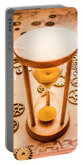 Old Hourglass Near Clock Gears On Old Map Portable Battery Charger