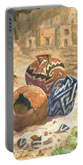 Portable Battery Charger featuring the painting Old Indian Pottery by Marilyn Smith