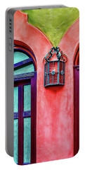 Portable Battery Charger featuring the photograph Old Lamp Between Windows by Gary Slawsky