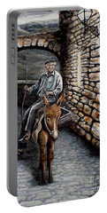 Portable Battery Charger featuring the painting Old Man On A Donkey by Judy Kirouac