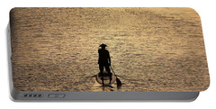 Old Man Paddling Into The Sunset Portable Battery Charger