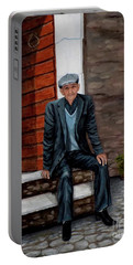 Portable Battery Charger featuring the painting Old Man Waiting by Judy Kirouac