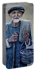Portable Battery Charger featuring the painting Old Man With His Stones by Judy Kirouac