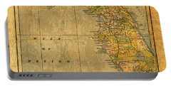 Old Map Of Florida Vintage Circa 1893 On Worn Distressed Parchment Portable Battery Charger