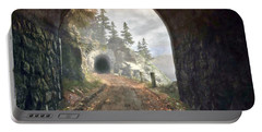 Portable Battery Charger featuring the digital art Old Mine Road by Kai Saarto