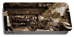 Old Motorcycle Shop Portable Battery Charger