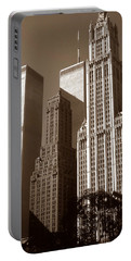 Old New York Photo - Woolworth Building And World Trade Center Portable Battery Charger
