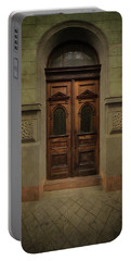 Old Ornamented Wooden Gate In Brown Tones Portable Battery Charger by Jaroslaw Blaminsky