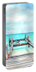 Portable Battery Charger featuring the painting Old Pier On Grace Bay At Club Med     by Carlin Blahnik CarlinArtWatercolor