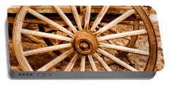 Old Prairie Schooner Wheel - Sepia Portable Battery Charger