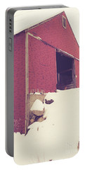 Portable Battery Charger featuring the photograph Old Red Barn In Winter by Edward Fielding