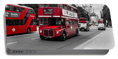 Old Red Bus Bw Portable Battery Charger