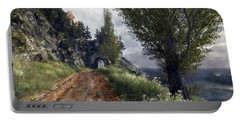 Portable Battery Charger featuring the digital art Old Road By The Sea by Kai Saarto