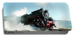 Old Russian Train On Bajkal Portable Battery Charger by Tamara Sushko