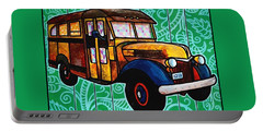 Old Rusted School Bus With Quilted Windows Portable Battery Charger by Jim Harris