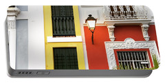 Old San Juan Homes Portable Battery Charger by The Art of Alice Terrill